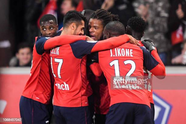 Nicolas Pepe of Lille, Zeki Celik of Lille, Loic Remy of Lille, Jonathan Ikone of Lille, Jonathan Bamba of Lille celebrate 1-0 during the French...