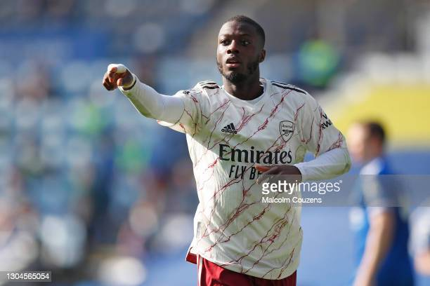 Nicolas Pepe ofArsenal reacts during the Premier League match between Leicester City and Arsenal at The King Power Stadium on February 28, 2021 in...