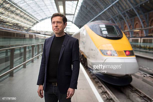 Nicolas Petrovic chief executive officer of Eurostar International Ltd stands on a railway platform during an interview as Eurostar launch a new...