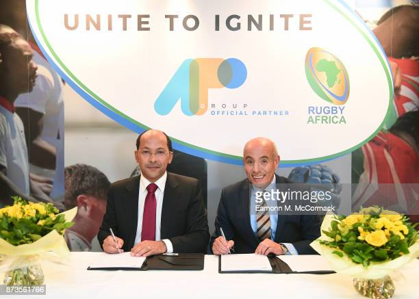 Nicolas Pompigne-Mognard, Founder and CEO of APO Group and Abdelaziz Bougja, Chairman of World Rugby's African association, signing the agreement...