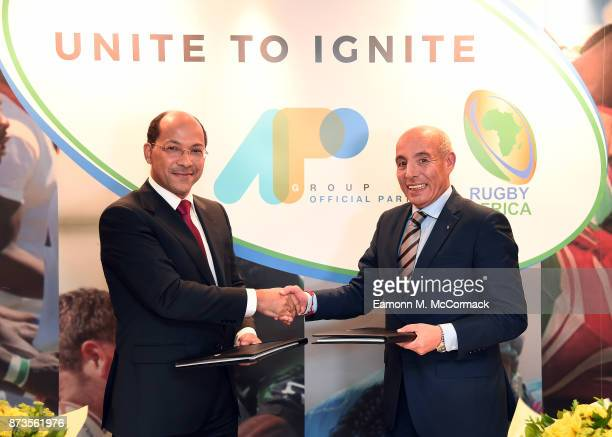 Nicolas PompigneMognard Founder and CEO of APO Group and Abdelaziz Bougja Chairman of World Rugby's African association Rugby Africa during the...