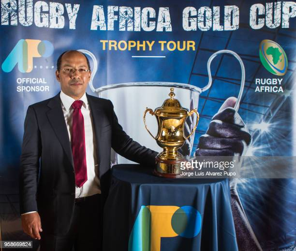 Nicolas PompigneMognard Founder CEO of APO Group the Official Partner of Rugby Africa poses with the new Rugby Africa Gold Cupu2019s perpetual trophy...