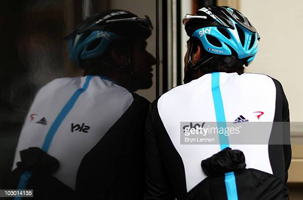 Nicolas Portal of France joined the Team SKY training ride on the second rest day of the 2010 Tour de France on July 21 2010 in Pau France