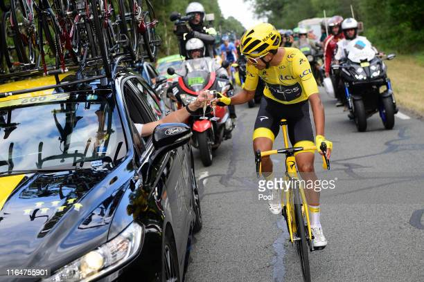 Nicolas Portal of France Sports Director Team INEOS / Team INEOS Staff / Egan Bernal of Colombia and Team INEOS Yellow Leader Jersey / Celebration /...