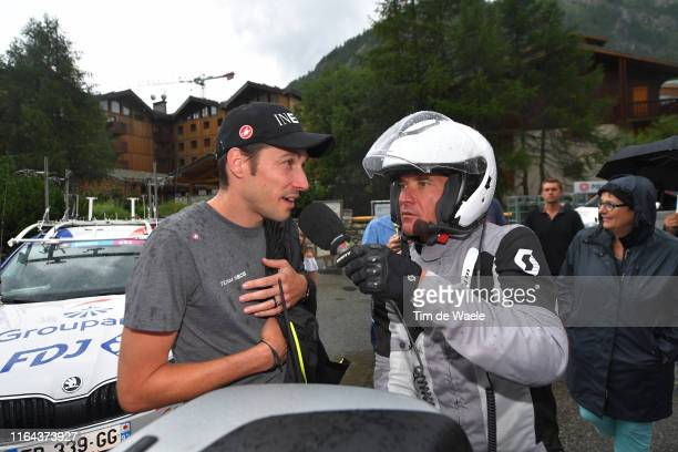 Nicolas Portal of France Sports Director Team INEOS / Thomas Voeckler of France Expro Cyclist and TV commentator / Interview / Stage neutralized...