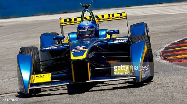 Nicolas Prost of France and edams Renault Formula E Team during the qualifying session as part of 2015 FIA Formula E Buenos ePrix at Puerto Madero...