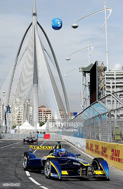 Nicolas Prost of France and eDamsRenault Formula E Team leads during the Formula E Championship race on November 22 2014 in Putrajaya Malaysia