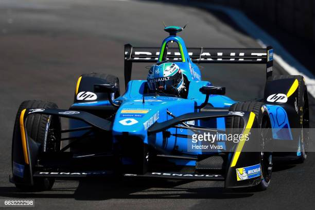 Nicolas Prost of France and Renault EDams Team drives his car in a practice during the 2017 FIA Formula E Mexico City ePrix at Hermanos Rodriguez...