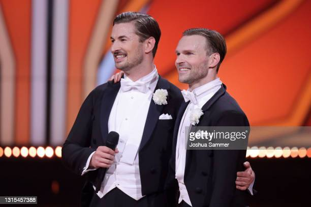 Nicolas Puschmann and Vadim Garbuzov talk to the jury after their performance on stage during the 8th show of the 14th season of the television...
