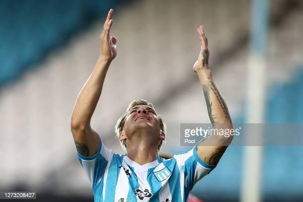 Nicolas Reniero of Racing Club laments during a group F match of Copa CONMEBOL Libertadores 2020 between Racing and Nacional at Juan Domingo Peron...