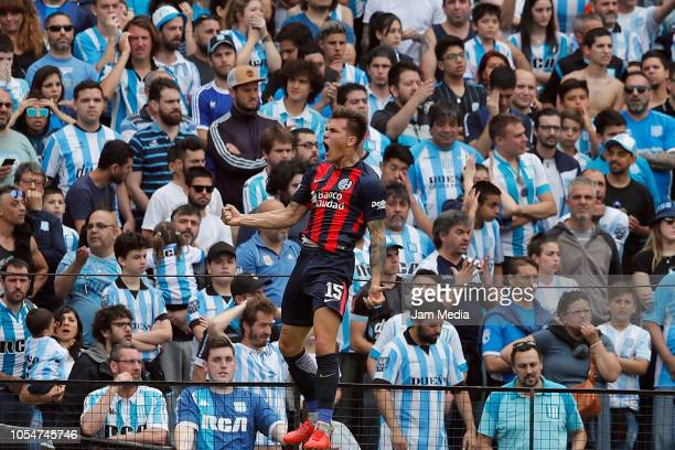 Nicolas Reniero of San Lorenzo celebrates after scoring the first goal of his team during a match between Racing Club and San Lorenzo as part of...