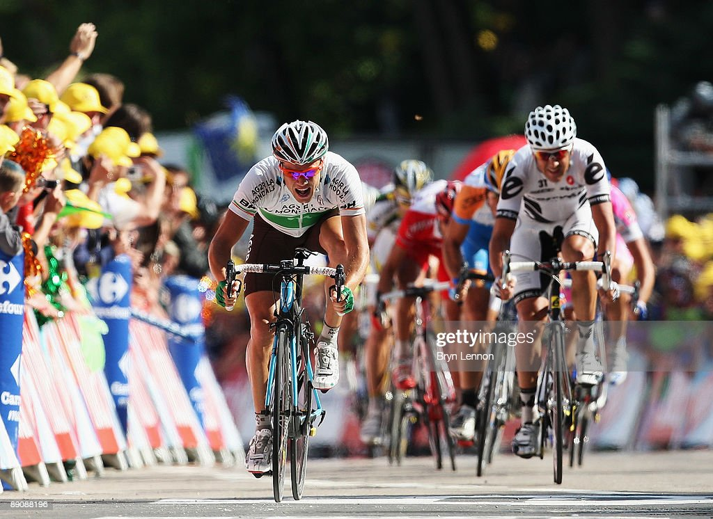 Nicolas Roche of Ireland and AG2R La Mondiale sprints for second place on stage 14 of the 2009 Tour de France from Colmar to Besancon on July 18, 2009 in Besancon.