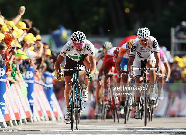 Nicolas Roche of Ireland and AG2R La Mondiale sprints for second place on stage 14 of the 2009 Tour de France from Colmar to Besancon on July 18 2009...