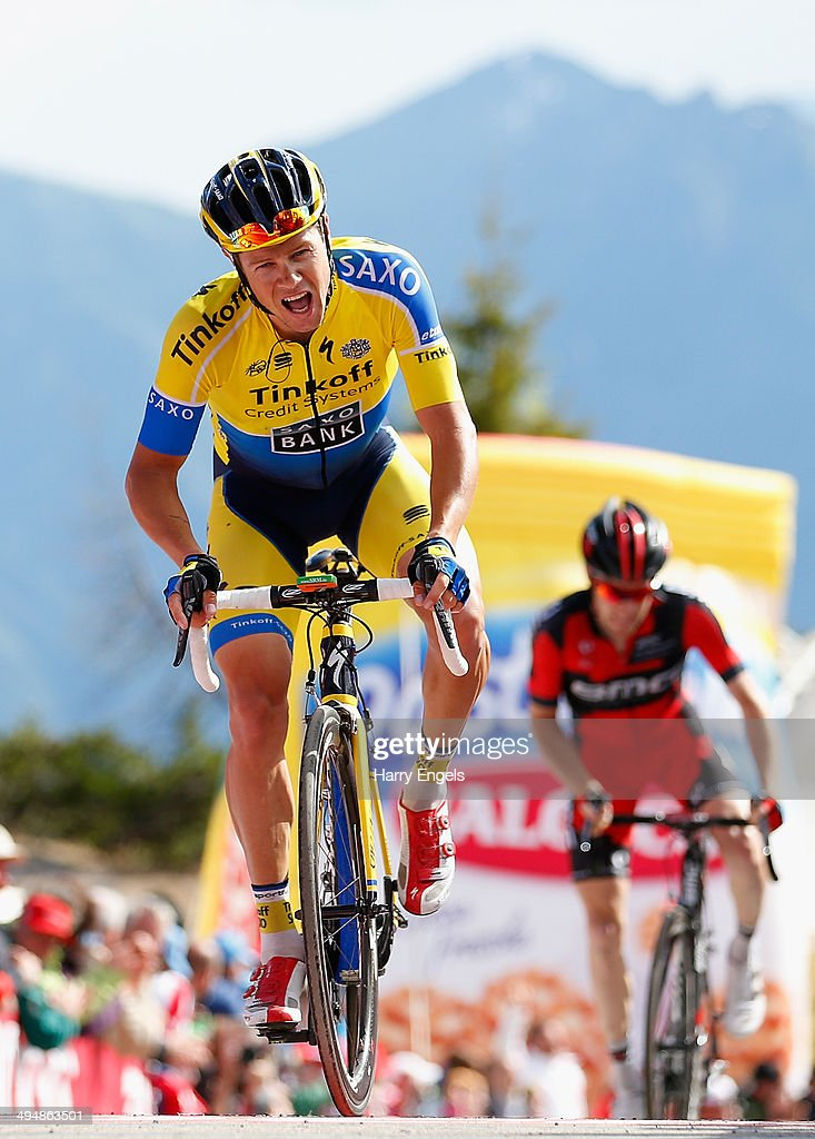 Nicolas Roche of Ireland and team Tinkoff-Saxo crosses the finish line during the twentieth stage of the 2014 Giro d'Italia, a 167km high mountain stage between Maniago and Monte Zoncolan on May 31, 2014 in Maniago, Italy.
