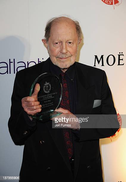 Nicolas Roeg, winner of the The Dilys Powell Award for Excellence in Film poses in the press room during the London Film Critics' Circle Awards at...
