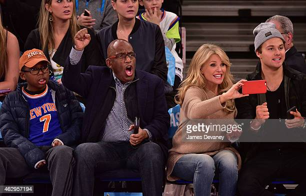 Nicolas Roker Al Roker Christie Brinkley and Jack Paris Brinkley Cook attend Golden State Warriors vs New York Knicks game at Madison Square Garden...