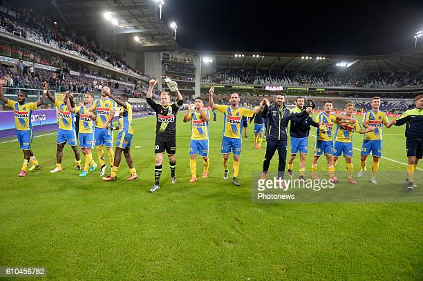 Nicolas Rommens midfielder of KVC Westerlo celebrates the win with Michael Heylen defender of KVC Westerlo pictured during Jupiler Pro League match...