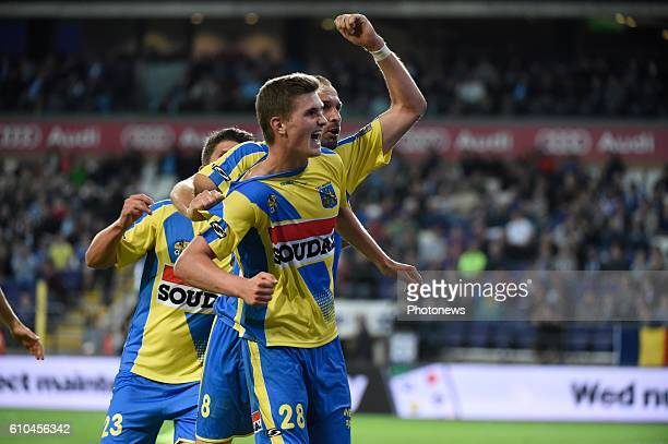Nicolas Rommens midfielder of KVC Westerlo celebrates with teammates after scoring pictured during Jupiler Pro League match between RSC Anderlecht...