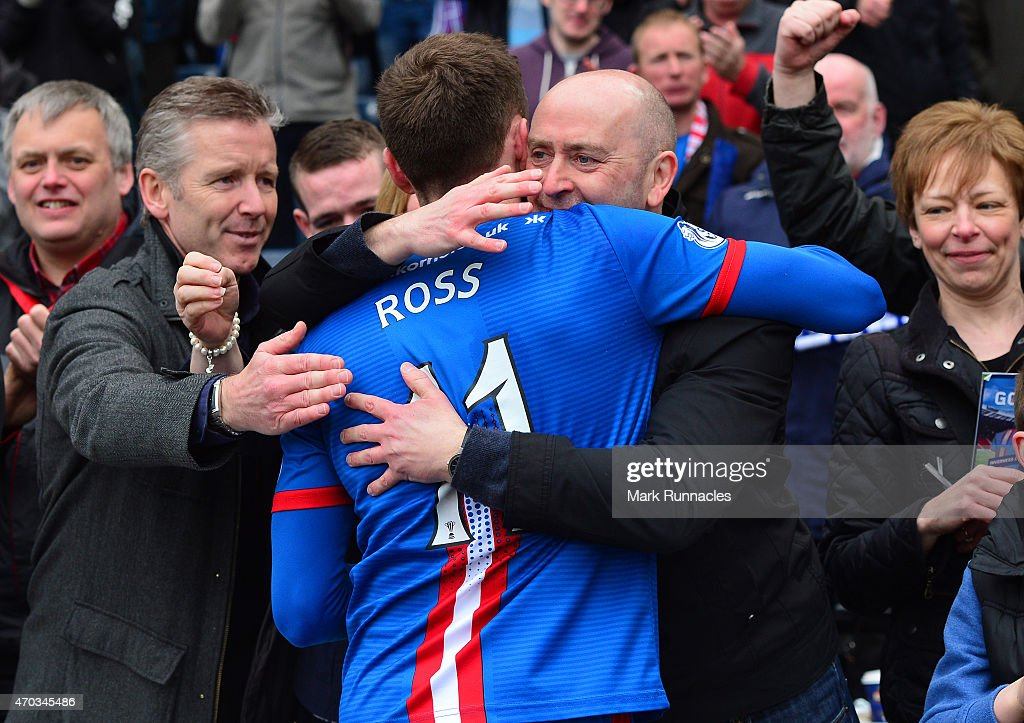 Nicolas Ross of Inverness Caledonian Thistle celebrates his teams famous victory over Celtic at full time with the traveling fans, during the William Hill Scottish Cup Semi Final match between Inverness Caledonian Thistle and Celtic at Hamden Park on April 19, 2015 in Glasgow Scotland.