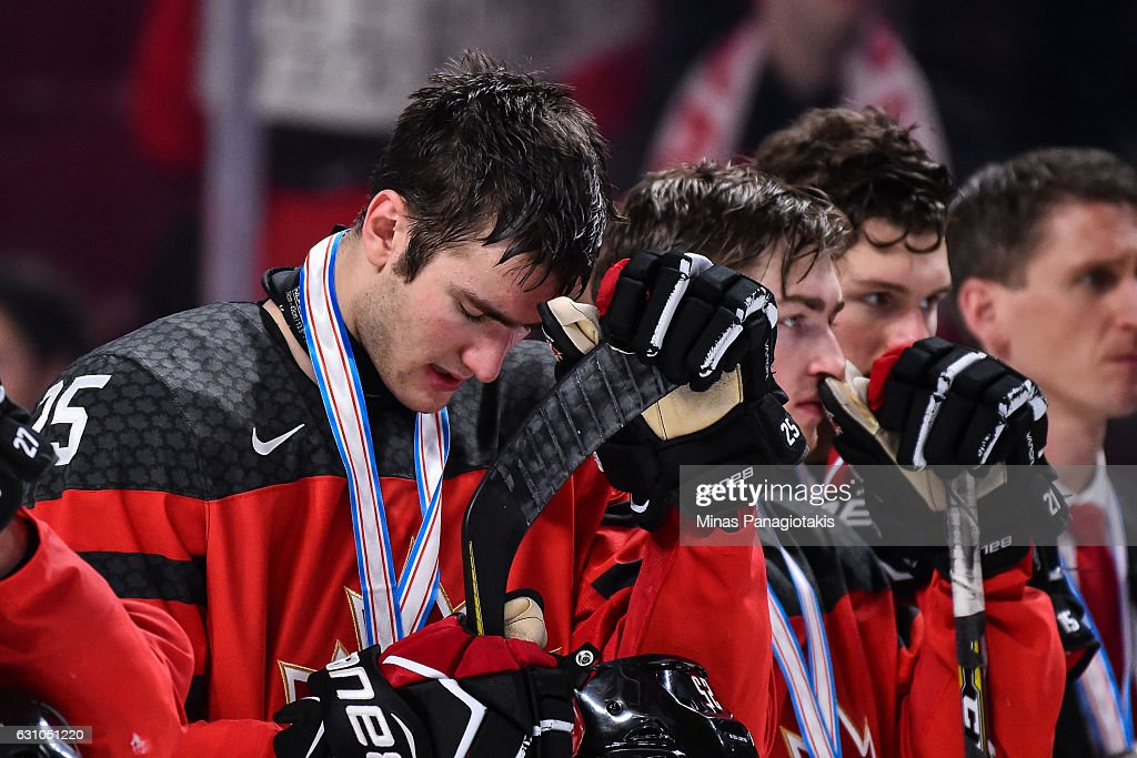 Nicolas Roy #25 of Team Canada reacts after losing to Team United States during the 2017 IIHF World Junior Championship gold medal game at the Bell Centre on January 5, 2017 in Montreal, Quebec, Canada. Team United States defeats Team Canada 5-4 in a shootout and wins the gold medal round.