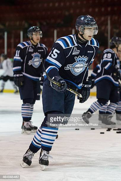 Nicolas Roy of the Chicoutimi Sagueneens skates during warmup prior to a game against the Gatineau Olympiques on February 20 2015 at Robert Guertin...