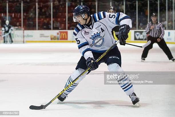 Nicolas Roy of the Chicoutimi Sagueneens skates with the puck against the Gatineau Olympiques on November 27 2015 at Robert Guertin Arena in Gatineau...