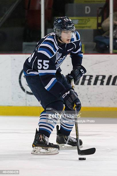 Nicolas Roy of the Chicoutimi Sagueneens skates with the puck during warmup prior to a game against the Gatineau Olympiques on February 20 2015 at...