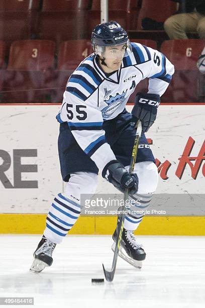 Nicolas Roy of the Chicoutimi Sagueneens skates with the puck during warmup prior to a game against the Gatineau Olympiques on November 27 2015 at...