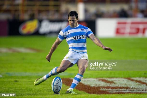 Nicolas Sanchez from Argentina kicks the ball during their international test match against Scotland at the Centenario stadium in Resistencia Chaco...