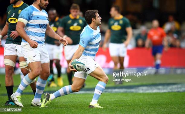 Nicolas Sanchez of Argentina celebrates a try during the Rugby Championship match between South Africa and Argentina at Jonsson Kings Park on August...