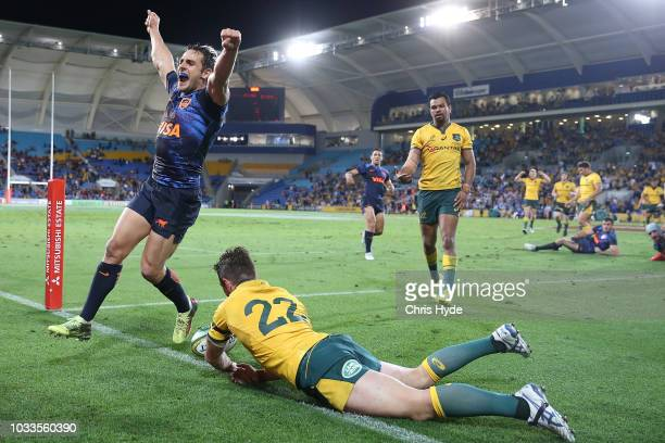 Nicolas Sanchez of Argentina celebrates winning The Rugby Championship match between the Australian Wallabies and Argentina Pumas at Cbus Super...