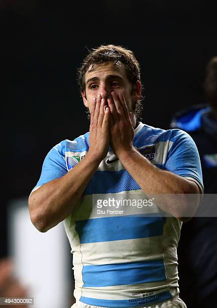 Nicolas Sanchez of Argentina crying in dejection after losing the 2015 Rugby World Cup Semi Final match between Argentina and Australia at Twickenham...