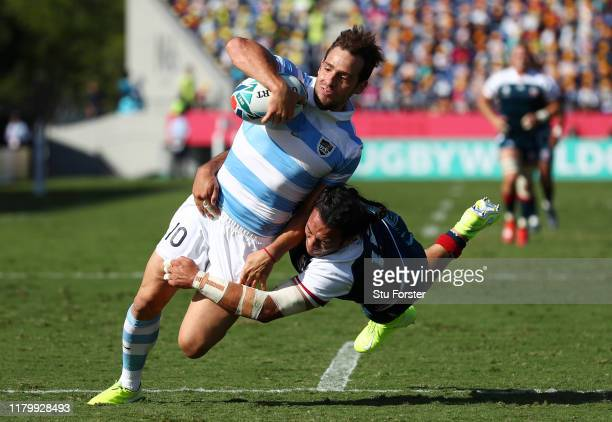 Nicolas Sanchez of Argentina runs with the ball to score his side's first try during the Rugby World Cup 2019 Group C game between Argentina and USA...