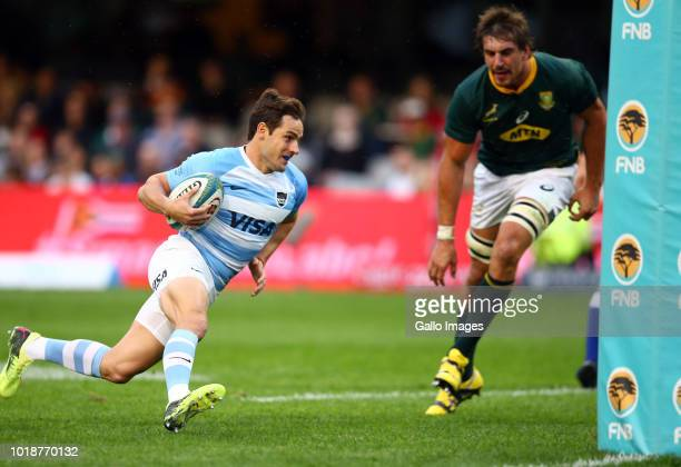 Nicolas Sanchez of Argentina scores a try during the Rugby Championship match between South Africa and Argentina at Jonsson Kings Park on August 18...