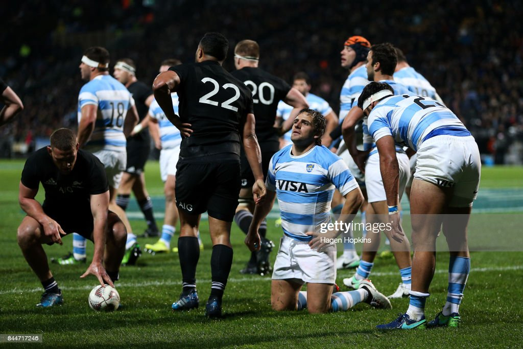 Nicolas Sanchez of Argentina shows his disappointment after being caught in his own in-goal during The Rugby Championship match between the New Zealand All Blacks and Argentina at Yarrow Stadium on September 9, 2017 in New Plymouth, New Zealand.