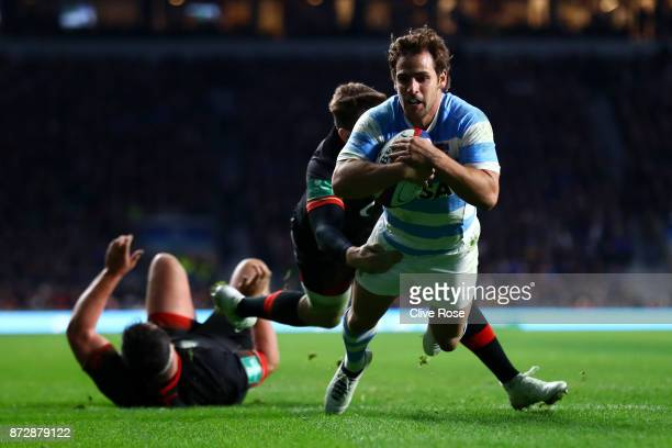 Nicolas Sanchez of Argentina touches down for the first try during the Old Mutual Wealth Series match between England and Argentina at Twickenham...