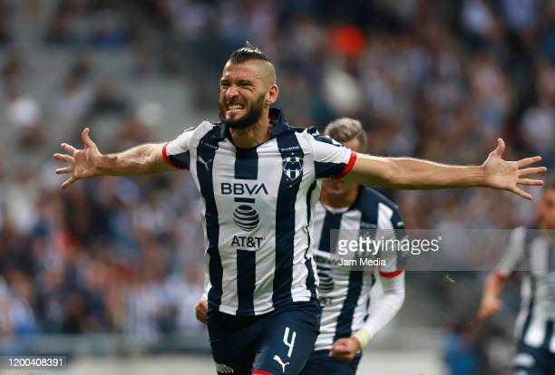 Nicolas Sanchez of Monterrey celebrates after scoring the second goal of his team during the 2nd round match between Monterrey and Morelia as part of...