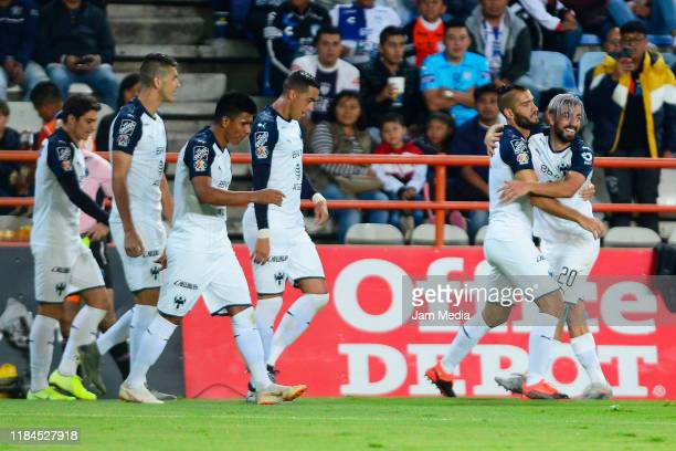 Nicolas Sanchez of Monterrey celebrates after scoring the third goal of his team during the 16th round match between Pachuca and Monterrey as part of...