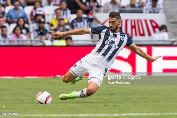 Nicolas Sanchez of Monterrey kicks the ball during the 4th round match between Monterrey and Chivas as part of the Torneo Apertura 2017 Liga MX at...