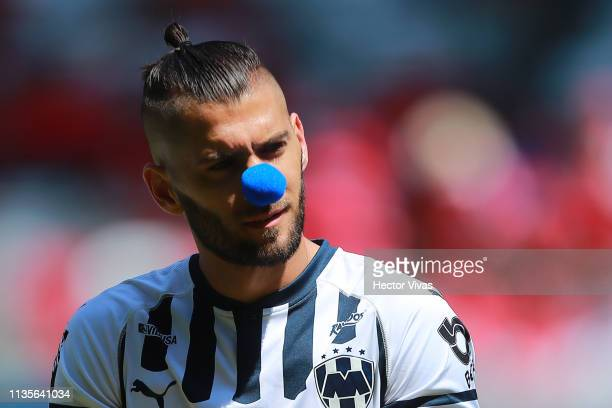Nicolas Sanchez of Monterrey wears a blue nose to create awareness over autism prior the 13th round match between Toluca and Monterrey as part of the...