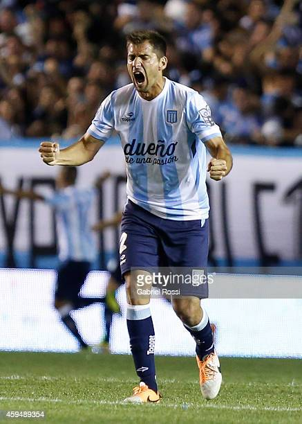 Nicolas Sanchez of Racing Club celebrates the own goal scored by Ramiro Funes Mori of River Plate during a match between Racing Club and River Plate...