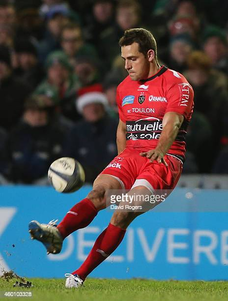 Nicolas Sanchez of Toulon kicks a penalty during the European Rugby Champions Cup group 3 match between Leicester Tigers and RC Toulon at Welford...