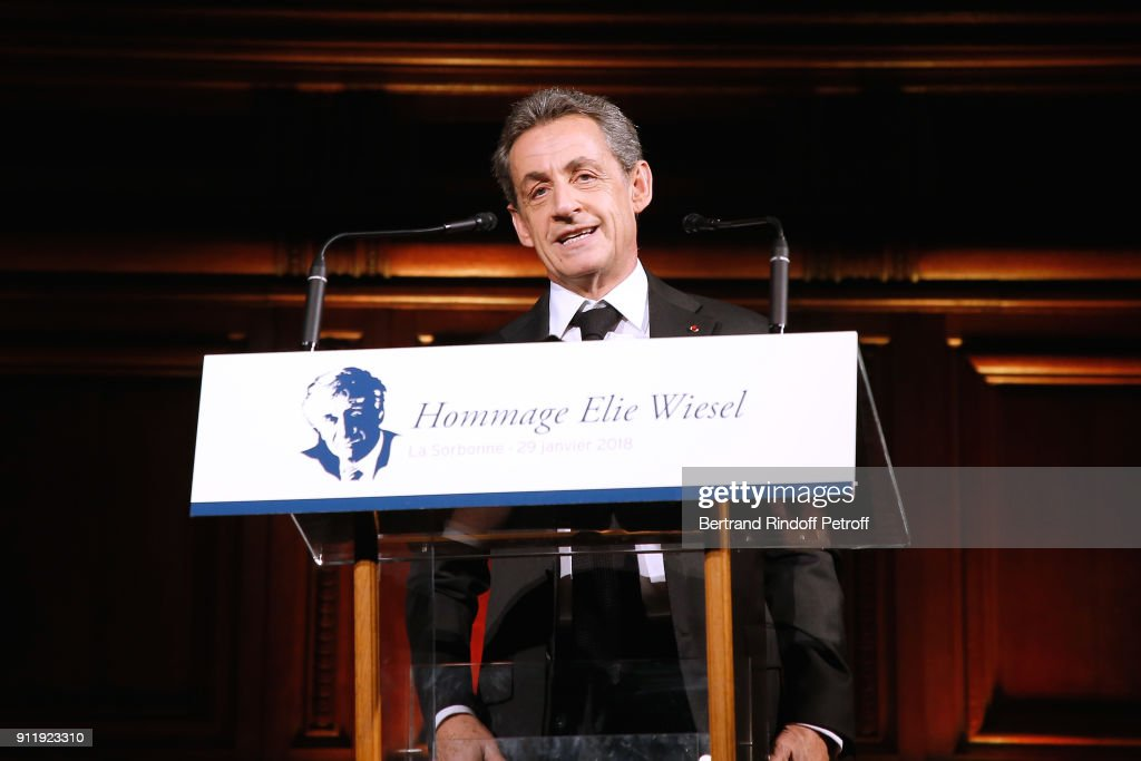 Nicolas Sarcozy attends the Tribute to ELie Wiesel by Maurice Levy X Publicis Group at 'La Sorbonne' on January 29, 2018 in Paris, France.
