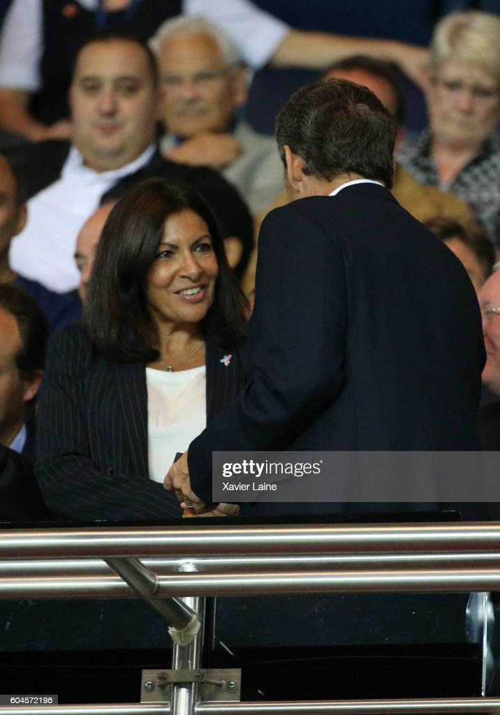 Nicolas Sarkozy and Anne Hidalgo attend the UEFA Champions League group A between Paris Saint-Germain and Arsenal FC at Parc Des Princes on september 13, 2016 in Paris, France.