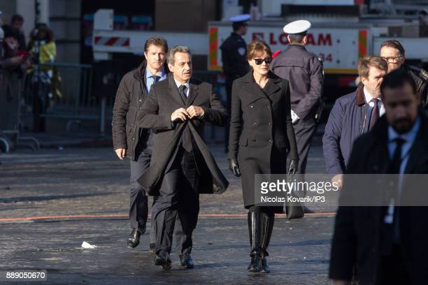 Nicolas Sarkozy and Carla Bruni attend France National Tribute to Johnny Hallyday at Eglise De La Madeleine on December 9 2017 in Paris France