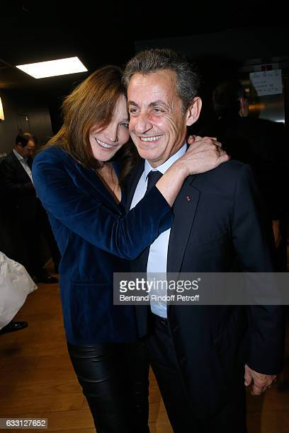 Nicolas Sarkozy and his wife Carla Bruni Sarkozy attend the Charity Gala against Alzheimer's disease at Salle Pleyel on January 30 2017 in Paris...