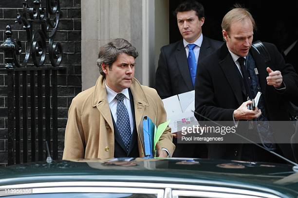 Nicolas Sarkozy and his wife meet Gordon Brown in London United Kingdom on March 27 2008Franck Louvrier and Christophe Henin France's President...