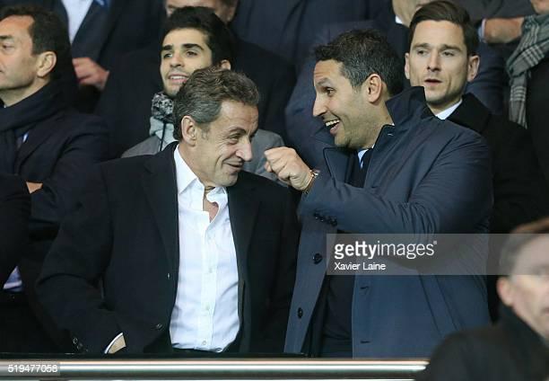 Nicolas Sarkozy and Khaldoon alMubarak attend the UEFA Champions League Quarter Final between Paris SaintGermain and Manchester City FC at Parc Des...
