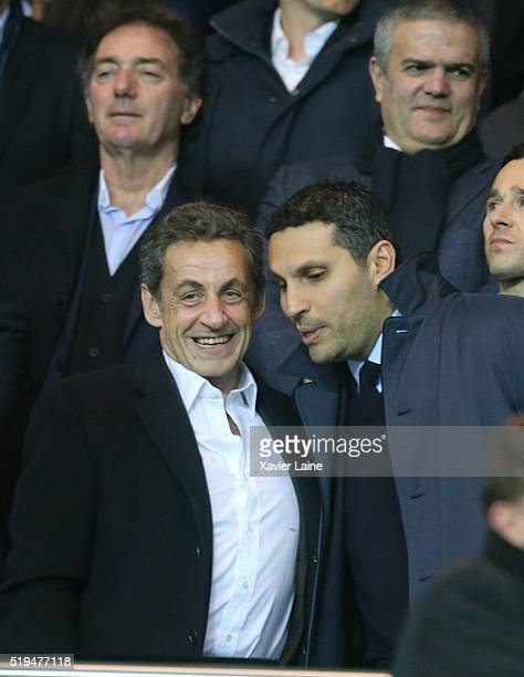Nicolas Sarkozy and Khaldoon alMubarak attend the UEFA Champions League Quarter Final between Paris SaintGermain and Manchester City FC at Parc Des...