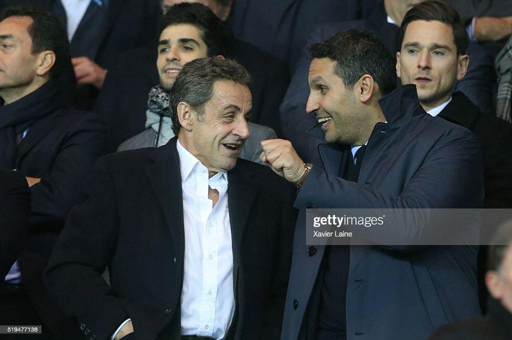 Nicolas Sarkozy and Khaldoon al-Mubarak attend the UEFA Champions League Quarter Final (first leg) between Paris Saint-Germain and Manchester City FC at Parc Des Princes on April 6, 2016 in Paris, France.